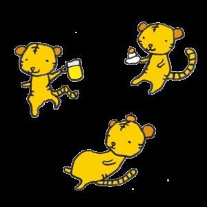 虎(お正月)の手書きイラスト