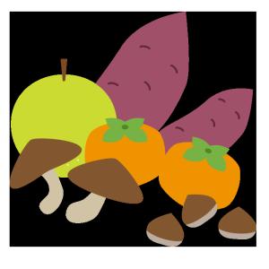 秋の味覚のシンプルイラスト