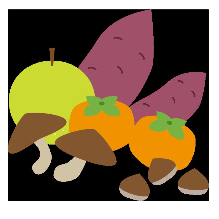 秋の味覚のシンプルイラスト 無料 イラストk