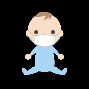 マスクを着用する赤ちゃん(男の子)のシンプルイラスト