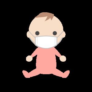 マスクを着用する赤ちゃん(女の子)のシンプルイラスト