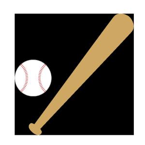 野球の道具(バット、ボール)のシンプルイラスト