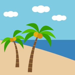 ビーチのシンプルイラスト