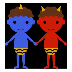 青鬼と赤鬼のシンプルイラスト