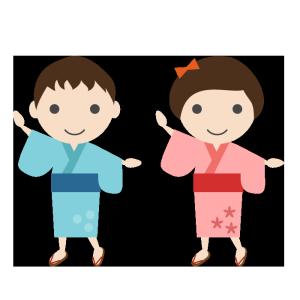 盆踊りをする子供のシンプルイラスト