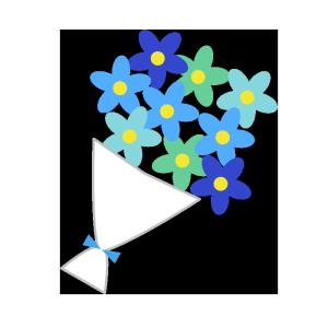 花束(青)のシンプルイラスト