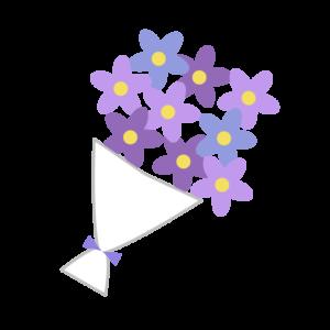 花束(紫)のシンプルイラスト