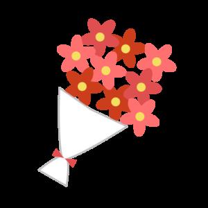 花束(赤)のシンプルイラスト