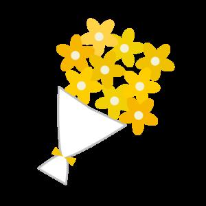 花束(黄色)のシンプルイラスト