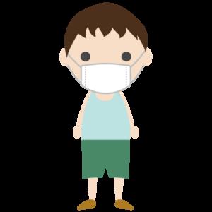 マスクを着用した男の子のシンプルイラスト