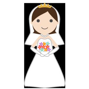花嫁 ウエディングドレス のシンプルイラスト 無料 イラストk