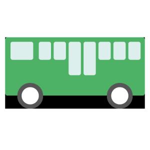 バス(緑)のシンプルイラスト