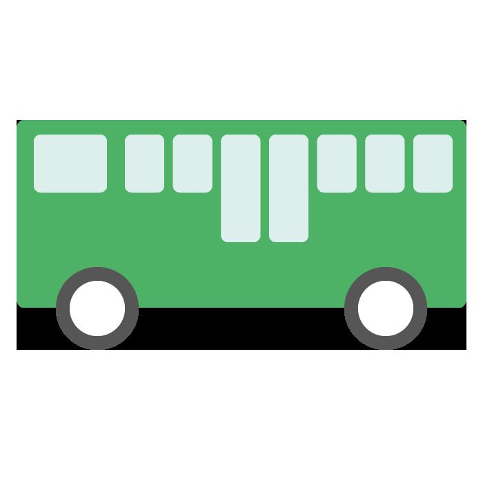バス緑のシンプルイラスト 無料 イラストk
