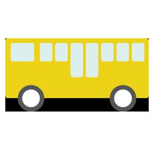 バス(黄)のシンプルイラスト