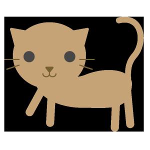 猫(茶色)のシンプルイラスト