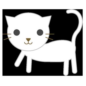 猫(白)のシンプルイラスト