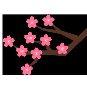 桜の枝のシンプルイラスト