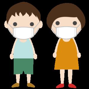 マスクを着用した子供のシンプルイラスト