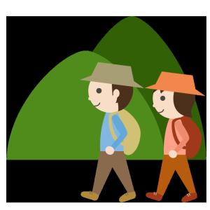 山登り(夫婦)のシンプルイラスト