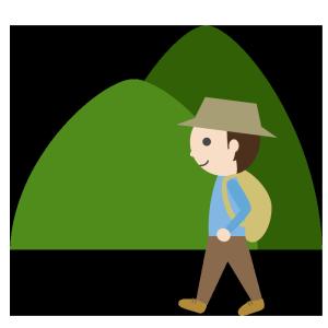 山登り(男性)のシンプルイラスト