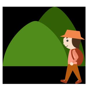 山登り(女性)のシンプルイラスト