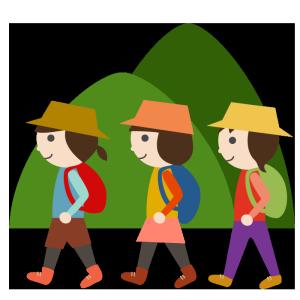 山登り(山ガール、若い女性)のシンプルイラスト