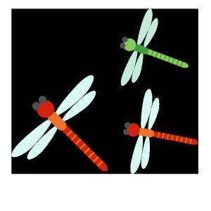 トンボの群れのシンプルイラスト