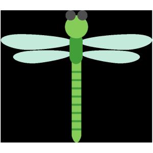 トンボ(緑)のシンプルイラスト