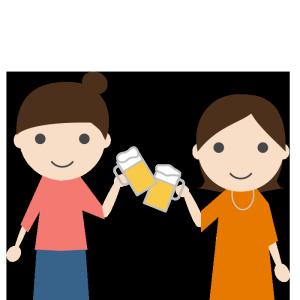 飲み会(女性)のシンプルイラスト