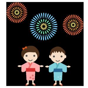 花火と子供のシンプルイラスト