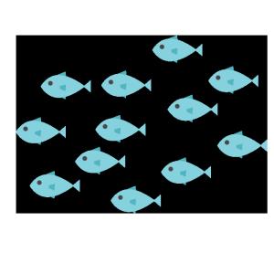 魚の群れのシンプルイラスト