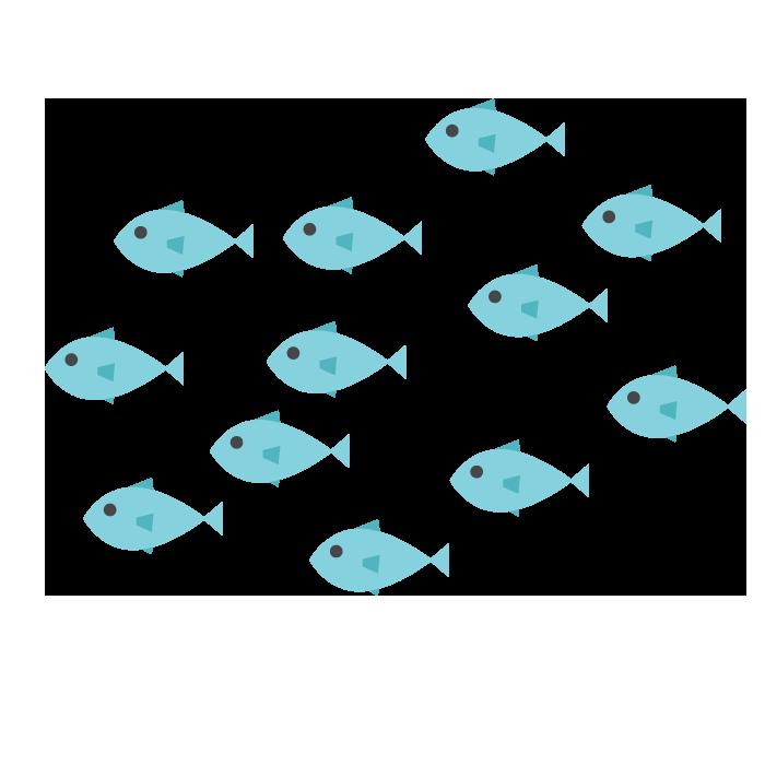 魚の群れのシンプルイラスト 無料 イラストk
