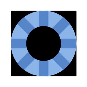 浮き輪(青)のシンプルイラスト