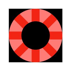 浮き輪(赤)のシンプルイラスト