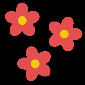花(赤)のシンプルイラスト02