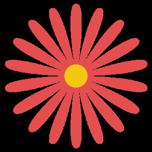 花(赤)のシンプルイラスト03