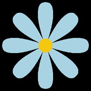 花(水色)のシンプルイラスト