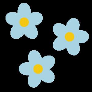 花(水色)のシンプルイラスト02