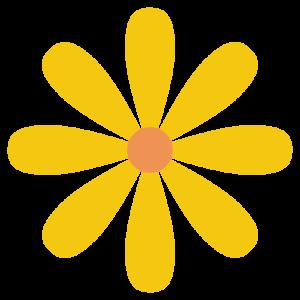 花(黄色)のシンプルイラスト