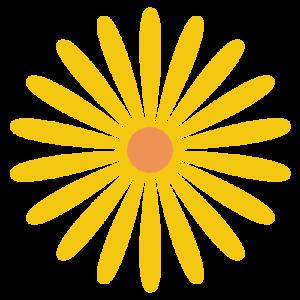 花(黄色)のシンプルイラスト03