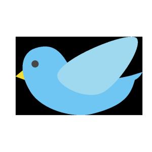 飛んでいる鳥(青)のシンプルイラスト