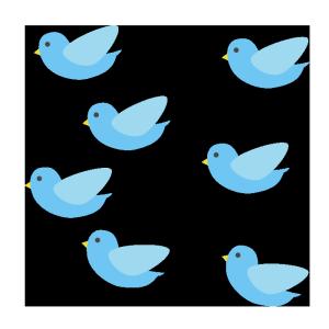 鳥の群れ(青)のシンプルイラスト