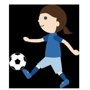 サッカー(女子)のシンプルイラスト