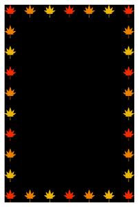 秋(もみじ)シンプル枠イラスト-縦