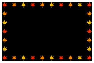 秋(もみじ)シンプル枠イラスト-横