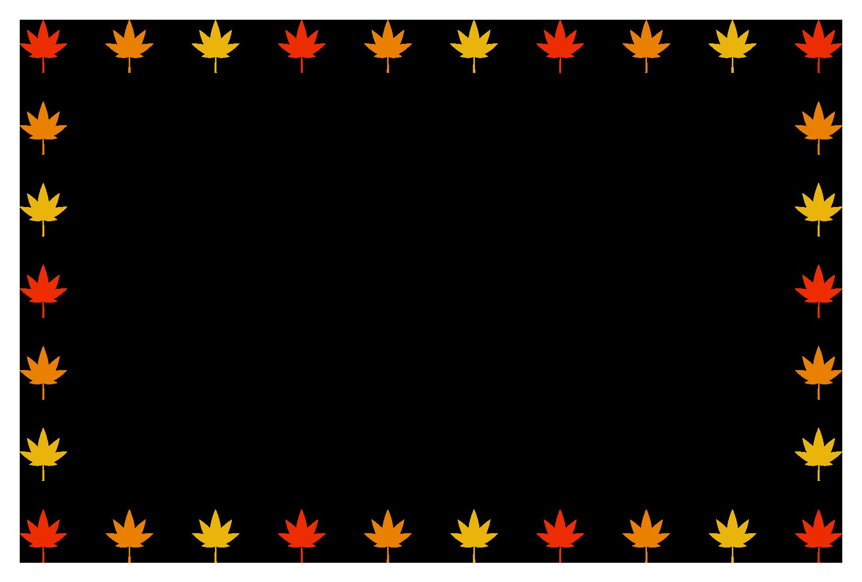 秋(もみじ)シンプル枠イラスト-横 <無料> | イラストk