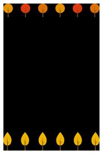 紅葉した木のシンプル枠イラスト-縦