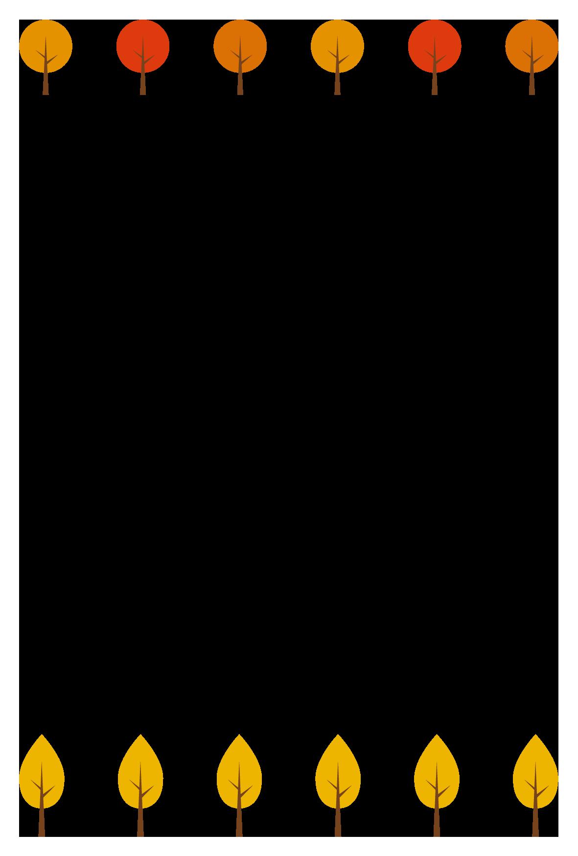 秋(紅葉した木)シンプル枠イラスト-縦 <無料> | イラストk