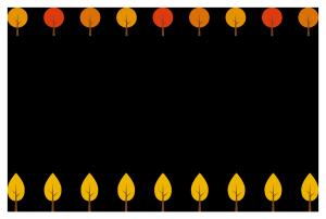秋(紅葉した木)シンプル枠イラスト-横
