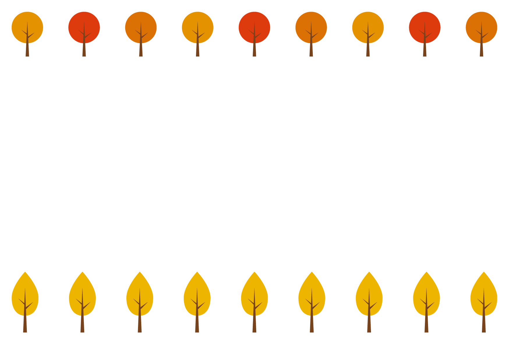 秋 紅葉した木 シンプル枠イラスト 横 無料 イラストk
